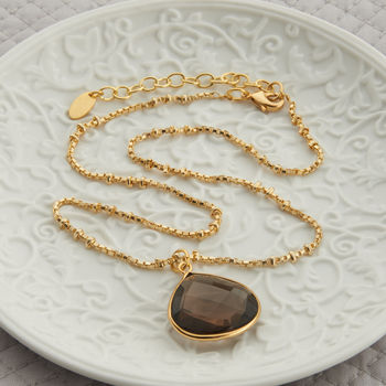 Gold And Smokey Quartz Drop Necklace