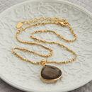 Gold And Smokey Quartz Drop Necklace