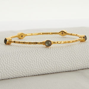Gold And Labradorite Slim Bangle
