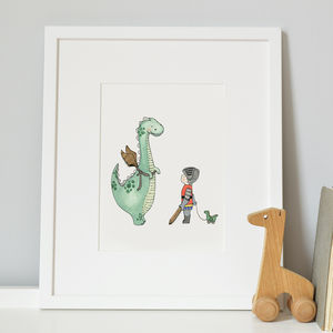 The Dinosaur Who Wanted To Be A Dragon Nursery Print