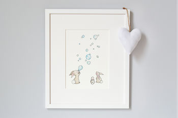 Bunnies And Bubbles Print