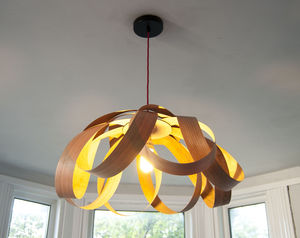 Wooden Petal Pendant Lampshade - bedroom