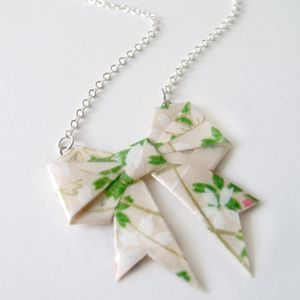Garden Of Eden Origami Paper Bow Necklace