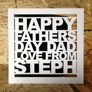 Personalised Papercut Fathers Day Card - personalised cards