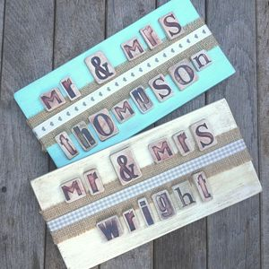 Personalised 'Mr And Mrs…' Wedding Sign