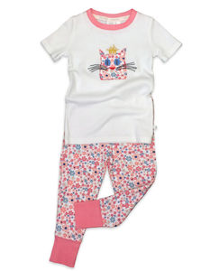 Girls Skinny Fit Summer Pj With Cat Motif