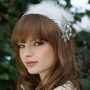 Bridal Rhinestone Feather Headband - for children