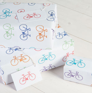 Bike Wrapping Paper And Gift Tags Pack Of Two - gifts for cyclists