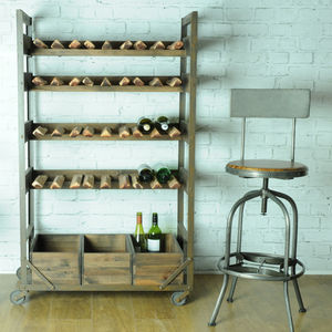 Industrial Steel And Wood Wine Rack