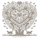 Family Tree Version with 4 hearts in Warm Grey