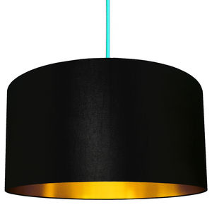 Handmade Gold Lined Lampshade In Inky Black