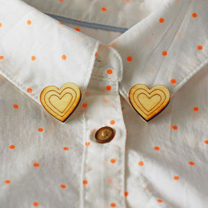Pair Of Heart Collar Pins