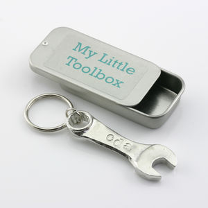 Personalised Pewter Mini Spanner Keyring - gifts under £15