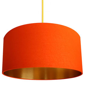 Tangerine Muslin Lampshade With Gold Lining - lighting