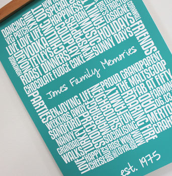 Personalised Family Memories Typographic Print
