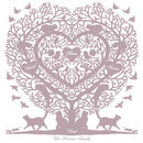 Family Tree with 3 Hearts in Heather