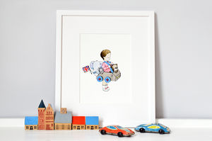 Personalised Car Nursery Print - pictures & prints for children