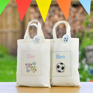 Personalised Children's Mini Tote Bag & Badge - ribbon & wrap