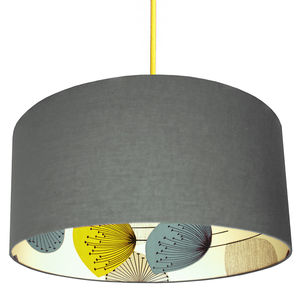 Dandelion Clocks Silhouette Lampshade In Slate Grey