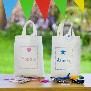 Personalised Childrens Party Gift Bag & Badge - ribbon & wrap