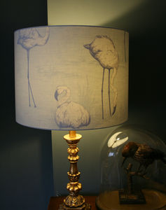 Flamingo Silhouette Lampshade In Cloud Grey