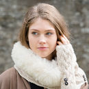 Alpaca Cableknit Fur Trim Snood Special Price