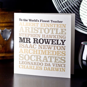 Personalised Famous Teacher Card - gifts for teachers