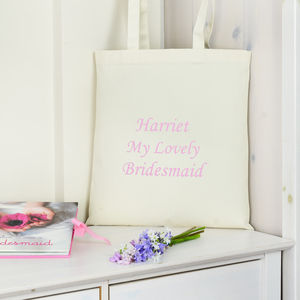 Pink Personalised 'My Lovely' Bridesmaid Bag