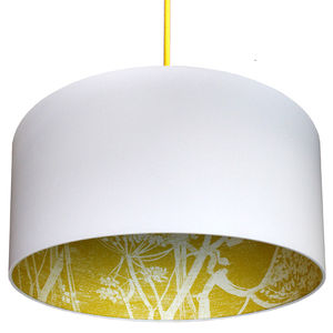 Cow Parsley Silhouette Lampshade In Charcoal Or Mustard