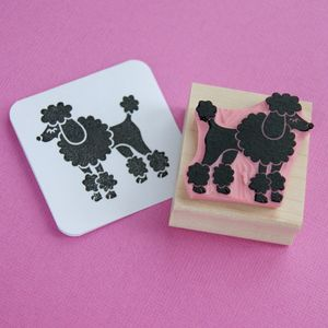 Posing Poodle Hand Carved Rubber Stamp