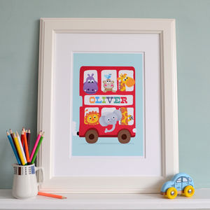 Kids Personalised Print Big Red Bus