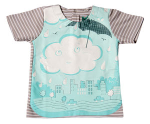 Child's Wipe Clean Striped Cloud Bib Top - bibs