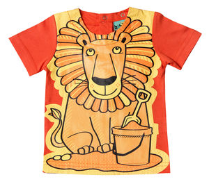 Child's Wipe Clean Plain Short Sleeve Lion Bib Top - baby care