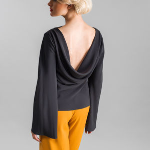 Draped Back Top With Fluted Sleeves - blouses & shirts