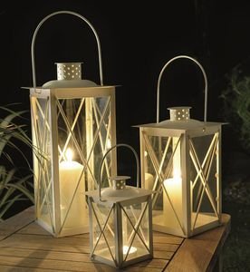 Set Of Three Cavendish Candle Lanterns In Cream - room decorations