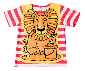 Child's Wipe Clean Striped Short Sleeve Lion Bib Top - baby care