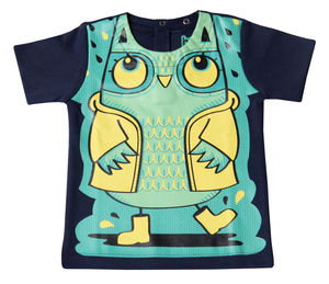 Child's Wipe Clean Blue Short Sleeve Owl Bib Top