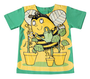 Child's Wipe Clean Green Short Sleeved Bee Bib Top