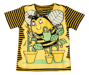 Child's Wipe Clean Striped Short Sleeved Bee Bib Top