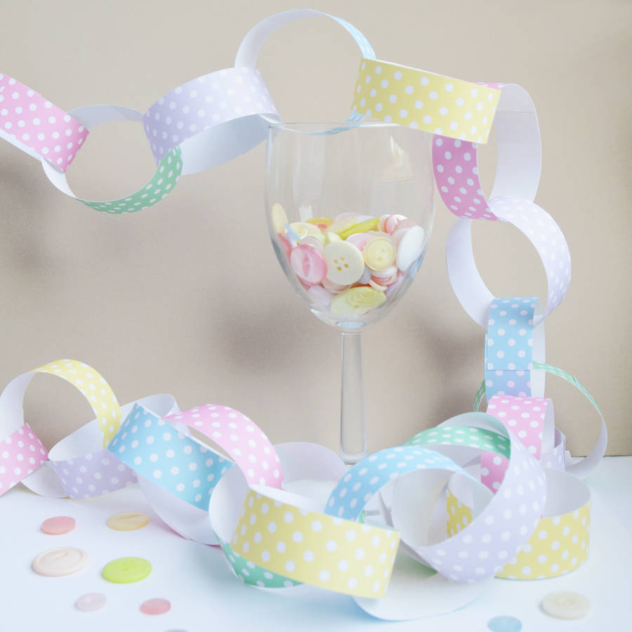pastel polka dot paper chain kit by altered chic