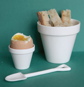 Eggpot And Shovel Eggcup - as seen in the press