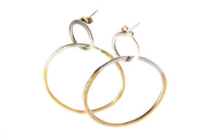 Mixed Metal Hoops - earrings