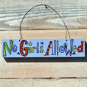 'No Girls Allowed' Wooden Door Sign
