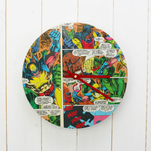 Superhero Comic Clock - children's room accessories