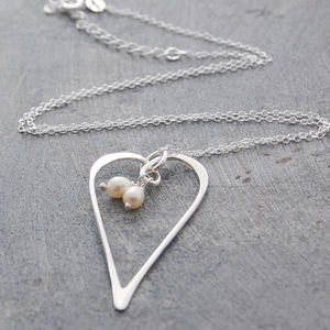 Silver Heart Pearl Drops Necklace