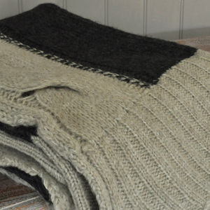 Camel And Charcoal Cable Knit Throw - throws, blankets & fabric