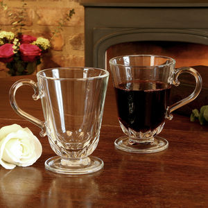 Set Of Two Glass Footed Mulled Wine Mugs - drink & barware