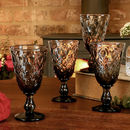 Set Of Four Smoked Grey Mulled Wine Goblets