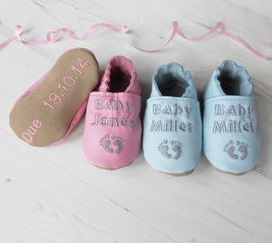 Personalised Baby Due Keepsake Shoes - pregnancy announcements