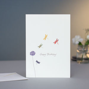 Dragonflies And Aliums Birthday Card